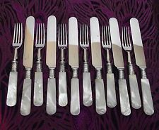 12 Pc Silverplate & Mother of Pearl Handled Dessert Set ~ Sheffield England!