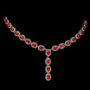 Natural Oval Coral Italy Cz 14K White Gold Plate 925 Sterling Silver Necklace 18