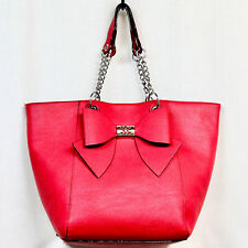 BETSEY JOHNSON XLarge Bag in Bag Bow Tote Red Pebbled Faux Leather Chain Handle
