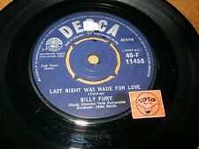 BILLY FURY - LAST NIGHT WAS MADE FOR LOVE - A KING FOR -  LISTEN - TEEN  POPCORN