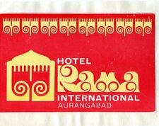 Vintage Hotel Luggage Label HOTEL INTERNATIONAL AURANGABAD Sticker