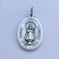 Infant of Prague Catholic medal pendant - silver colour metal 2cm