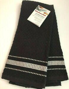 KITCHENAID Set of 2 BLACK Kitchen Dish Bar Towels with White Stripe Cotton NWT
