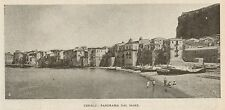 D1036 Palermo - CEfalù - Panorama dal Mare - Stampa antica - 1917 old print