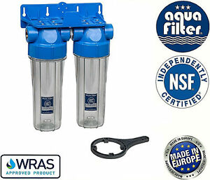 """Aquafilter 10"""" Double Twin Water Filter Housing 3/4"""" / Biodiesel & Vegetable Oil"""