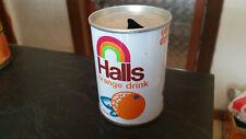 vintage halls 250ml orange soft drink tin can
