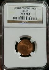 Ethiopia EE-1889 1/32 Birr KM-10 NGC MS-63 Red Brown