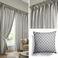 """Grey Lined Curtains Geometric Jacquard Tape Top 3"""" Pencil Pleat Curtain Pairs"""