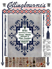 Collingbourne's #7 c.1917 Color Cross Stitch Embroidery & Filet Crochet Pattern