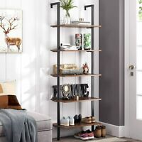 Industrial 5-Tier Ladder Shelf Bookcase Wall-mounted Wood Storage Rack Furniture