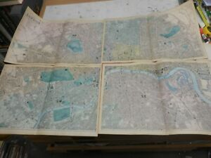 100% ORIGINAL LARGE CENTRAL 4 INCH LONDON MAPS X4 BY G BACON C1896 RAILWAYS