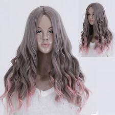 Lolita Grau Rosa Ombre Lange Gewellt Gelockt Mischen Haar Volle Perücke Cosplay