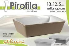 PIROFILA RETTANGOLARE IN PORCELLANA CON COPERCHIO 18X12X5 COLORI ASSORTITI