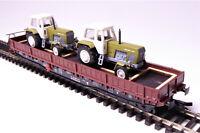 TT 1 : 120 BUSCH Flachwagen Samm mit 2 Traktoren Typ ZT 300 E DR Ep.IV # 31170