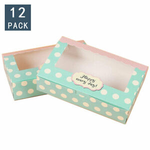 12 PCS Kraft Paper Cake Box With Clear PVC Window Cookies Boxes 8.5x5.5x2 inches