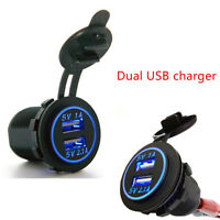 12V ~ 24V Universal Dual USB Car Charger Cigarette Lighter With BLUE LED lights