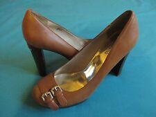 New MICHAEL KORS Women Leather Tan Cognac High Heel Platform Shoes sz 8 M