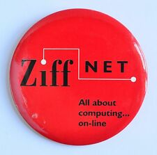 """Vintage Ziff Net """"All About computing...on-line"""" Large Pinback Button Ziff Davis"""