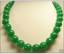 best luster AAA Natural Beautiful 12mm Green Jade Round Beads Necklace 18 ''14k
