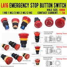 Type 3 Prongs Red Mushroom Emergency Stop Push Button Switch La16 Series