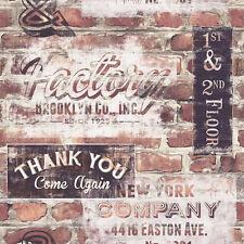 NEW YORK GRAFFITI OLD RED BROWN BRICK WALL EFFECT FEATURE WALLPAPER 238600 RASCH