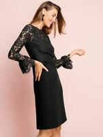 NEW $179 RSVP by TALBOTS Black Lace Bodice Flounce Sleeve Dress Sz 10P,10 Petite