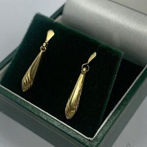9ct Gold Drop Dangle Earrings, Butterfly Backs. C942