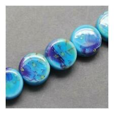 Porcelain Puffy Coin Beads 5 x 9mm Pale Blue 10 Pcs Art Hobby Jewellery Making