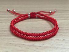 2PCS COUPLE SET - Lucky Red String Silver Adjustable Braided Shamballa Bracelet