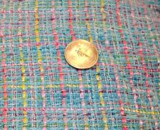 sky blue BOUCLE fabric 3 3/4 yd total PASTEL pink lime salmon lavender SPRING