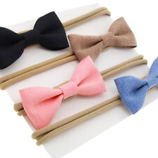 4 Pcs/Lot Baby Girls Newborn Cotton Hair Bows Headbands Elastic Hair Bands