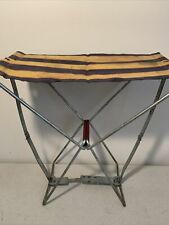 Vintage Canvas Folding Stool Seat Chair Camping Hunting Fishing