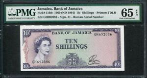 Jamaica 1964, 10 Shillings, P51Bb, PMG 65 EPQ GEM UNC