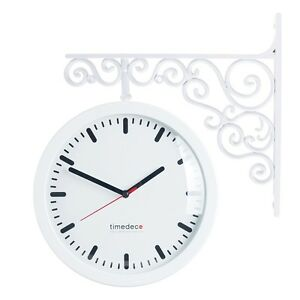 Antique Art Design Double Sided Wall Clock Station Clock Home Decor - Line(WH)