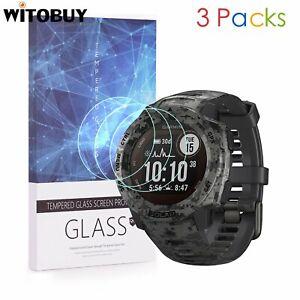 For Garmin Instinct Solar 9H Hardness Tempered Glass Screen Protector 3 Packs