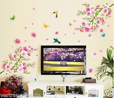 Wandtattoo Wandaufkleber XL Pfirsichblüte Vogel Blumen Schmetterling Wohnzimmer