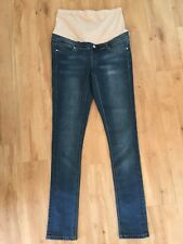 Ladies JEANSWEST Maternity Jeans Size 10 Faded Blue Denim Skinny Over Belly