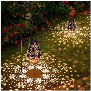 2Pack Solar Lantern Hanging Light LED Outdoor Retro Garden Lamp Waterproof Decor