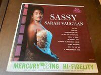 Sarah Vaughan~Sassy~1962 Mercury Wing Jazz Vocal~VG+/VG+ Swing Pop Hal Mooney