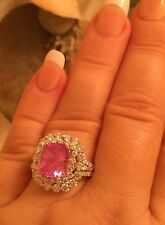 18K GOLD 6.47 CT GIA CERTIFIED NO 1 HEAT PRETTY HOT PINK SAPPHIRE DIAMOND RING!!