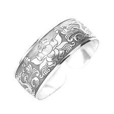 Tibet Silver Flower Bangle Bracelet 25mm Jewelry E6C0