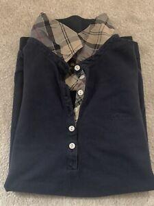 BARBOUR Ladies Polo Shirt Size 12 Navy With Tartan Trim