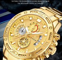WWOOR New Men Watches Luxury Gold Stainless Steel Waterproof Sport Chronograph