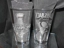 2016 2017 STANLEY CUP CHAMPION PITTSBURGH PENGUINS BACK2BACK LOGO ETCHED PINTS 2