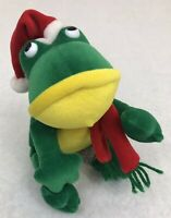 1988 Vintage Chrisha Creations Playful Plush Green Bean Bag Christmas Frog!