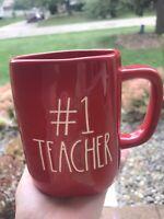 RAE DUNN NEW #1 TEACHER RED MUG LL Magenta Artesian Collection Farmhouse Decor