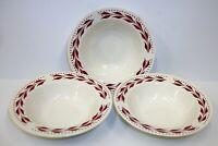 3 Vintage Homer Laughlin Hemlock Red Dessert Berry Bowls