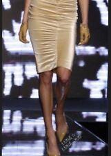 $1395 Versace stretch velvet beige sexy bodycon skirt,size 38-40-42(4-6-8)