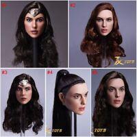 "1/6 Wonder Woman Gal Gadot Head Sculpt Custom Model Fit 12"" Female Figure Body"