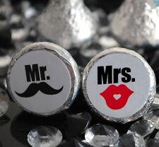 108 Mr. & Mrs. Mustache & Lips Hershey Kiss Labels Stickers Favors